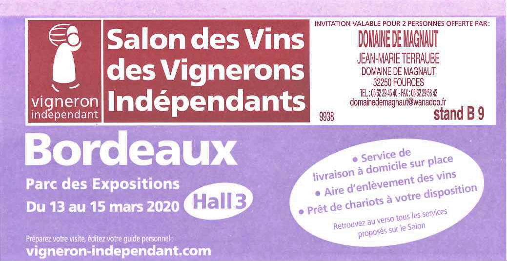 Salon Bordeaux du 13 au 15 Mars 2020 !
