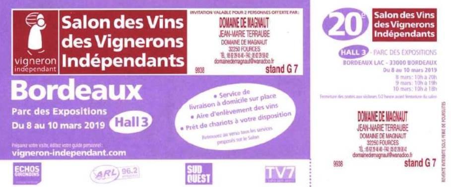 Salon Bordeaux du 08 au 10 Mars 2019 !